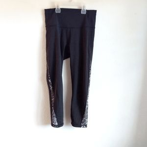 EUC Lululemon Athletica cropped pants with mesh detail